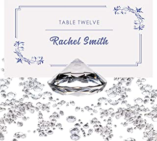 Luxury Diamond Place Card or Table Number Holder [20 Pack] with Matching Diamond Table Confetti [Over 6,000 Diamonds] Crystal-Clear Acrylic Party and Wedding Table Decorations