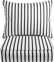 "Mozaic AZPCSET5408 Sunbrella Indoor/Outdoor Deep Seating Corded Pillow and Cushion Set, 23""x 25"" Blue White Stripe"