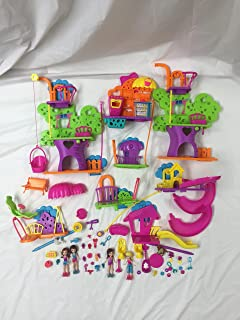 60 plus pieces Polly Pocket Wall Tree House Party Playset Collection