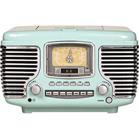 Crosley CR612B-AB Corsair Tabletop AM/FM Bluetooth Radio with CD Player and Dual Alarm Clock, Aqua Blue