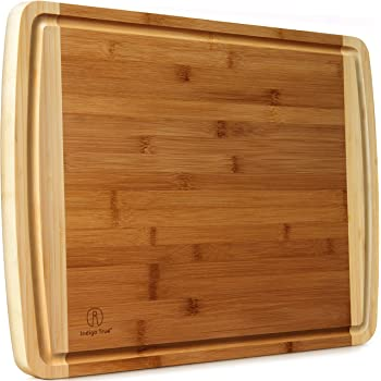 Extra Large Bamboo Cutting Board for Kitchen with Juice Groove - 17.5 x 13.5 x 0.75 inch