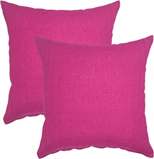 YOUR SMILE Pure Square Decorative Throw Pillows Case Cushion Covers Shell Cotton Linen Blend 18 X 18 Inches, Pack of 2 (Pink)
