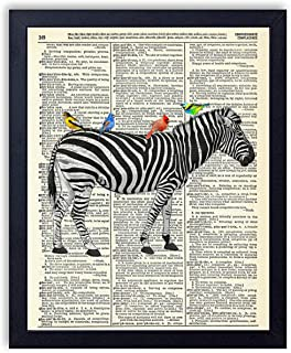 Zebra With Birds Vintage Wall Art Upcycled Dictionary Art Print Poster 8x10 inches, Unframed