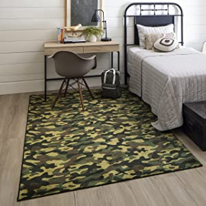 Mohawk Home Camouflage Area Rugs, 5' X 8', Black