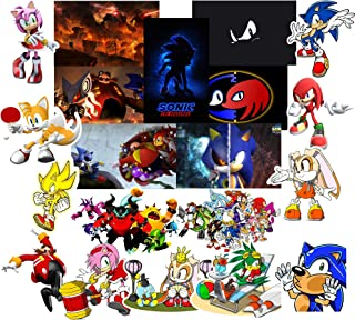 GTOTd Stickers for Sonic The Hedgehog (20 Pieces). Vinyl Waterproof 4x4''Stickers for Kids(Premium Quality)