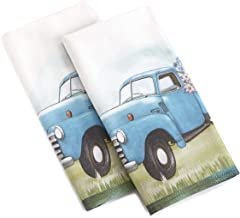 The Lakeside Collection Vintage Truck Hand Towels for Bathroom and Kitchen - Cotton, Set of 2