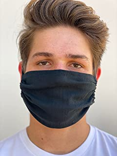 ADULT ONE LAYER MASK, BREATHABLE, GAUZE, CHEESECLOTH FACE MASK COTTON ADJUSTABLE REVERSIBLE WASHABLE (Black) (Black)
