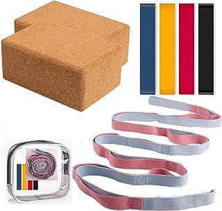 "SEASUM YOGA Block 2 Pack Set & with 12-Loops Yoga Strap and 4 Resistance Bands Set- 100% Natural Cork 9""x6""x4"" Yoga Blocks..."