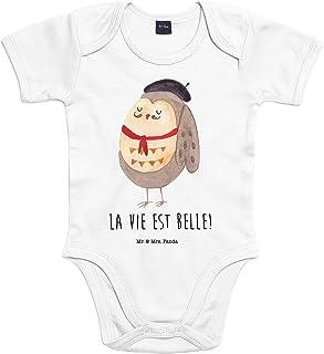 Mr. & Mrs. Panda Mr. & Mrs. Panda Bodysuit, Strampler, 3-6 Monate Baby Body Eule Französisch mit Spruch - Farbe Transparent