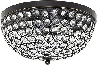 Elegant Designs FM1000-RBZ 2 LightElipse Crystal Flush Mount Ceiling Light, Restoration Bronze
