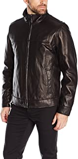 Tommy Hilfiger Men's Smooth Lamb Leather Stand Collar Jacket