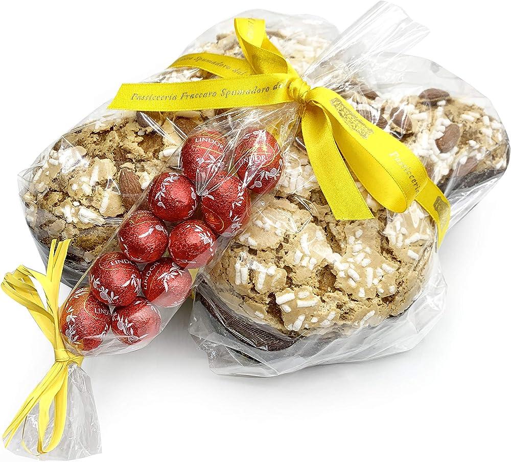 Fraccaro,colomba di pasqua artigianale ,caffè e cioccolato (750 gr), e 10 ovetti lindt