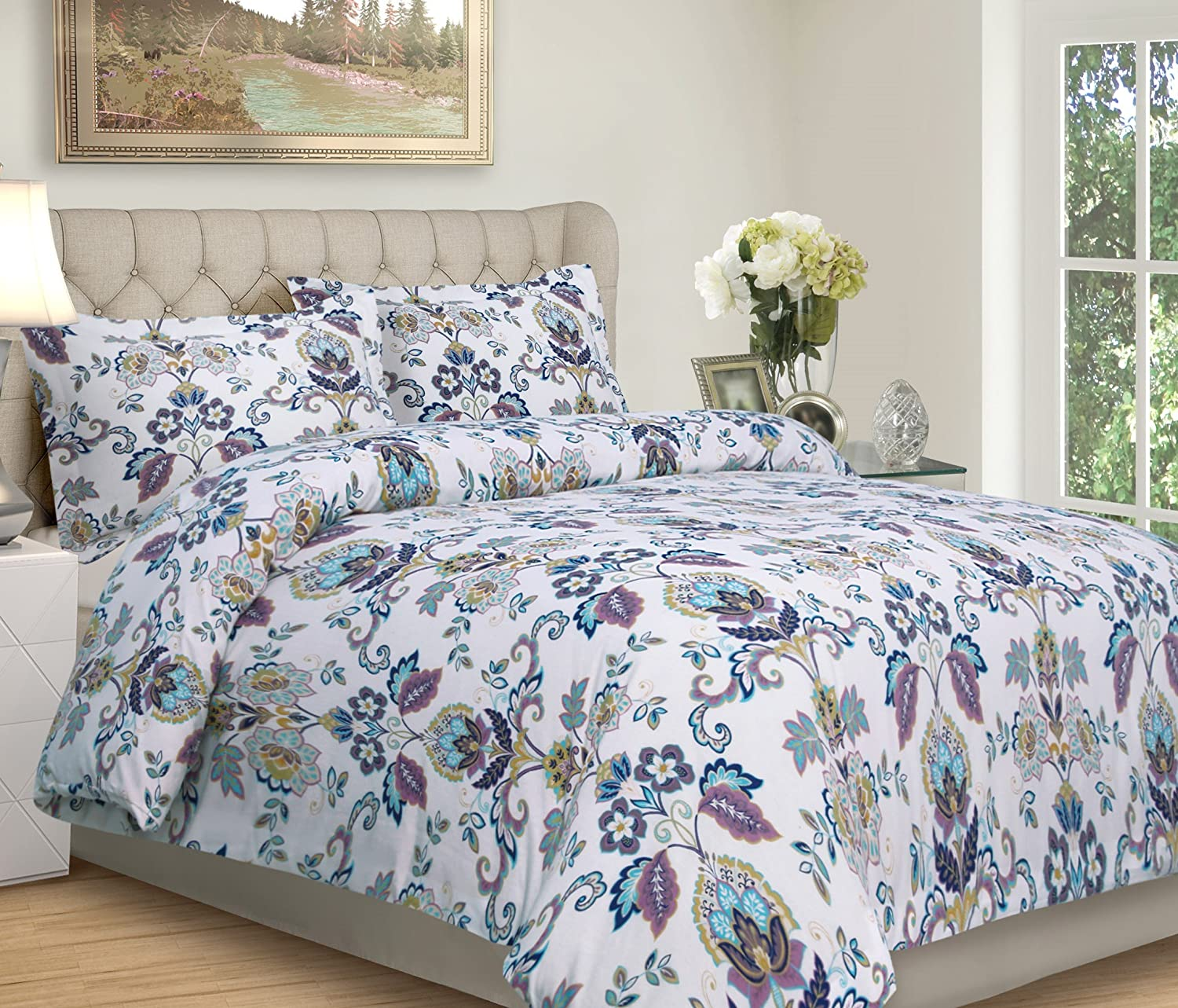 Tribeca Living Abstract Paisley Printed Flannel 200 GSM Luxury Duvet Cover Set, King, Multicolor