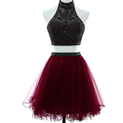 a1ea16d29c MEILISAY Meilishuo 2 Piece Beading Homecoming Dresses Floral Short Prom  Party Gowns High Neck 2018