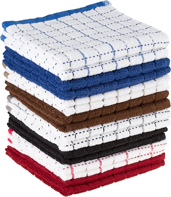 Dish Cloths Pack Windowpane Pattern And Absorbent Dobby Weave Style Cotton Set Of 16 Kitchen Wash Towels Cleaning Drying By Lavish Home