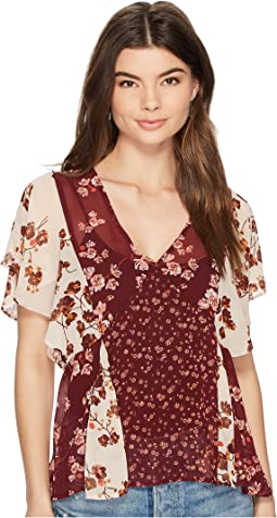 Lucky Brand Mix Print Floral Top
