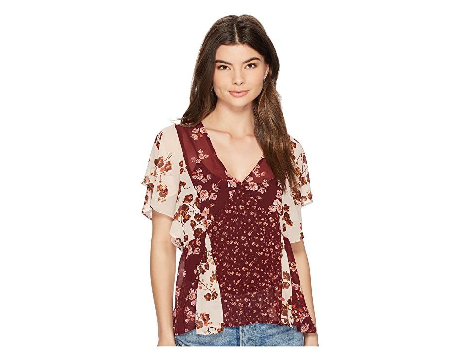 Lucky Brand Mix Print Floral Top (Burgundy Multi) Women's Short Sleeve Pullover