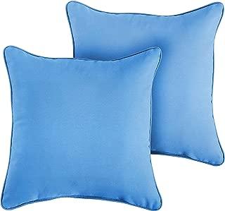 1101Design Sunbrella Canvas Capri Corded Decorative Indoor/Outdoor Square Throw Pillows, Perfect for Patio Décor - Capri Blue 16