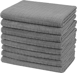 Gryeer Microfibre Tea Towels, Soft, Super Absorbent and Lint Free Kitchen Towels, 45 x 65 cm, Pack of 8, Grey