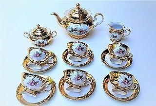 Juego de té hecho en Italia lleno de oro de 24k con flor rosa