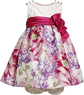 Bonnie Baby Girls' Triple Strap Shantung Dress with Large Floral Print Skirt
