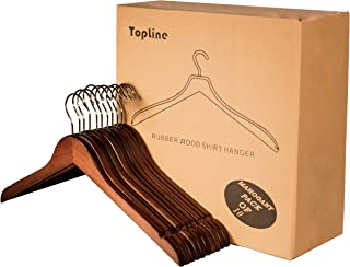Topline Classic Wood Shirt Hangers - Mahogany Finish (10-Pack)