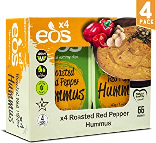 EOS {Roasted Red Pepper Hummus} All-Natural Chickpeas Tahini Dip Clean Healthy Snack Bean Dip for Pita Chips Plant Based Protein High Fibre Good Fat Low Calorie Vegan Non-GMO | 4 Pack