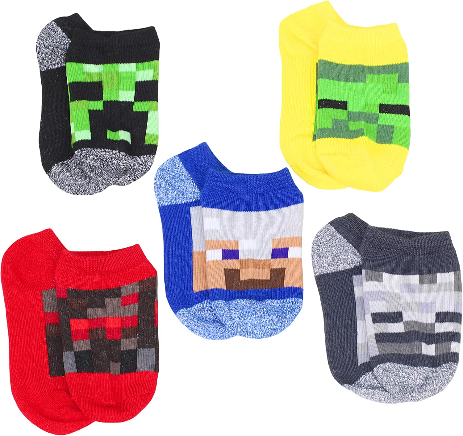Minecraft Little Boys Character 5-Pack No-Show Socks, 7-10, Multicolor 7