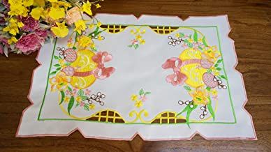GRANDDECO Spring Easter Flowery Table Placemat/Doily,Floral Cutwork Embroidered Table Linen, Home Kitchen Dining Tabletop Decoration (Placemat 12×18 Set of 4, Yellow)