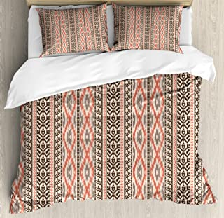 Ambesonne Southwestern Duvet Cover Set, Traditional Vertical Borders Inspired by Primitive Art Ikat Style, Decorative 3 Piece Bedding Set with 2 Pillow Shams, King Size, Brown Coral