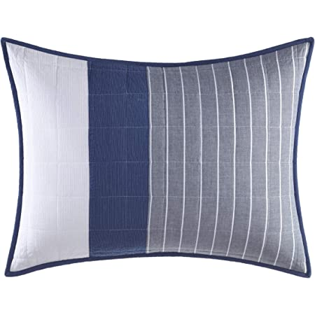 Nautica Swale Collection 100 Cotton Quilted Accent Standard Sham Envelope Closure Pre Washed For Added Softness Easy Care Machine Washable 20 X 26 Navy Home Kitchen