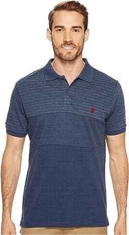Slim Fit Color Block Short Sleeve Pique Polo Shirt