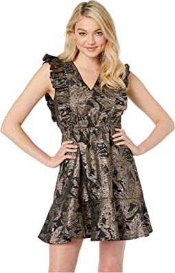 Ruffled Jacquard Party Dress