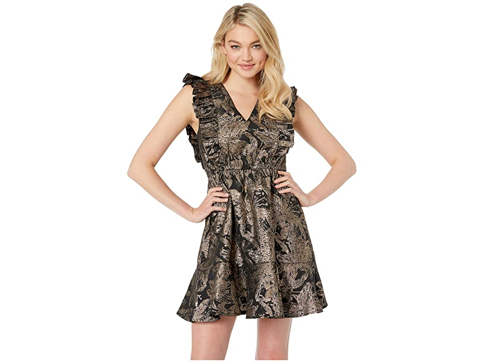 Betsey Johnson Ruffled Jacquard Party Dress (Gold/Black) Women