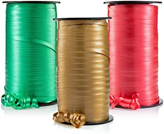 Curling Ribbon, Holiday Christmas Crimped Ribbons, 3 Holiday Colors, Red, Emerald Green, Gold - 3/16-Inch Wide by 500-Yard...