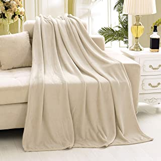 Farmhouse Throw Blanket in Fleece ,Polar Fleece Twin Blanket 70x90 Tan Color, Extra Soft Brush Fabric - Super Warm Bed Blanket - Lightweight Couch Blanket,Luxury Fleece Blanket, Easy Care