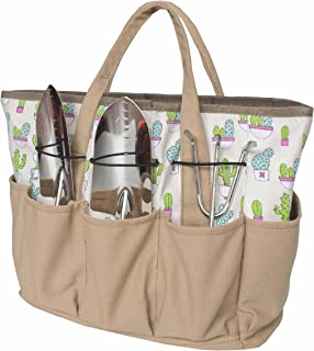 Mydays Outdoor Multi Pocket Gardening Tool Organizer Tote Bag Carrier Tools Not Included (Cactus)