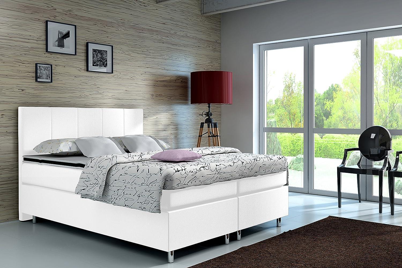 wohnenluxus Madrid Classic - Cama con somier, diseño clásico, Weiss Kunstleder, 180 x 200