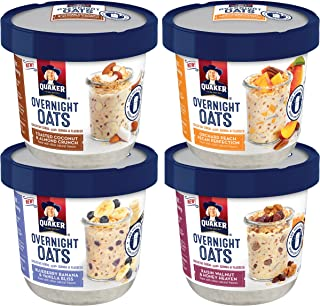 Quaker Overnight Oats, Variety Pack, Breakfast Cereal, Pack of 12