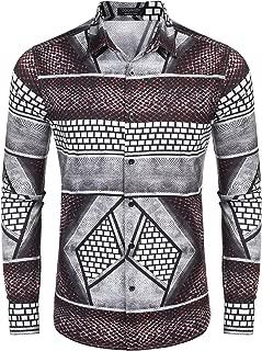Men's Floral Dress Shirt Slim Fit Casual Fashion Luxury Printed Shirt Long Sleeve Button Down Shirts