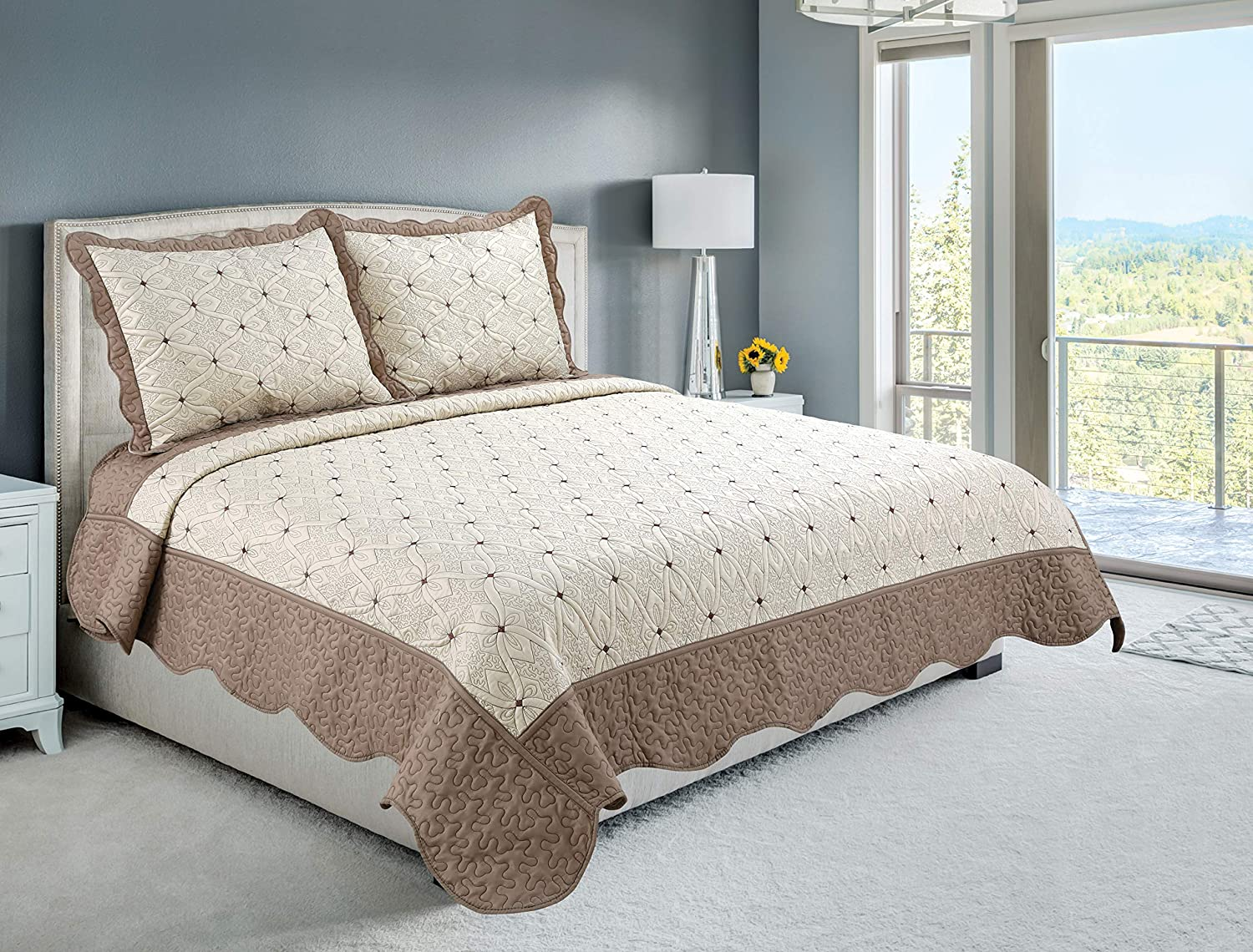 Marina Decoration Embroidered Coverlet Bedspread Ultra Soft Solid 2 Piece Summer Quilt Set with 1 Quilted Sham, Taupe