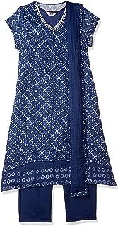 BIBA Women's synthetic a line Salwar Suit Set (SKDINDIGO651942_ Blue_ 2XL (42))