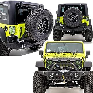 Restyling Factory -Rock Crawler Front Bumper w/ Skid Plate, OE Fog Lights Hole & Winch Plate+Full Width Rear Bumper w/ Tire Carrier & 2
