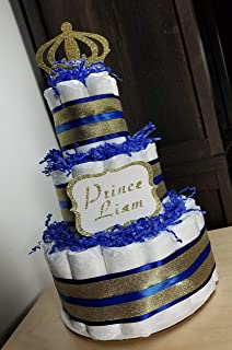 Little Prince Diaper Cake - 3 Tier - Baby Shower Gift - Royal Blue and Gold, Black and Gold or Red and Gold - Custom