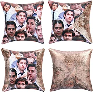 cygnus Sequin Reversible Pillow Cover The Office Jim Mike Face Magic Mermaid Throw Pillow Case That Color Changes Cushion Cover (Champagne)