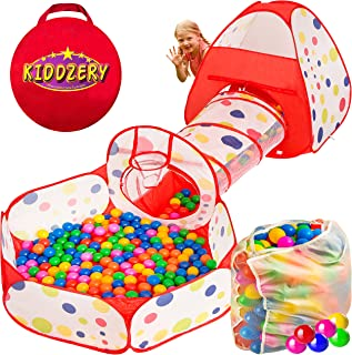 Kiddzery 3pc Ball Pit with Balls, Pop Up Kids Play Tent w/ Crawl Tunnel & Ball Pit, – 200 Crush Proof Balls - Great for Boys & Girls, Toddlers & Babies –W/ Carrying Case for Balls and Ball Pit