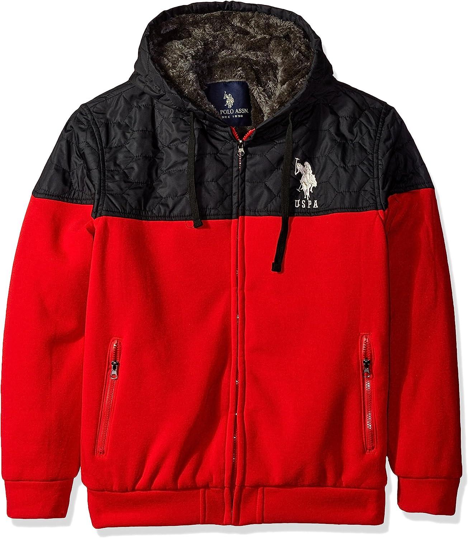 U.S. Polo Assn. Men's Fleece Hoodie with Quilt Yoke, Engine Red, Medium