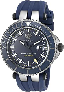Men's 'V-Race' Swiss Quartz Stainless Steel and Silicone Casual Watch, Color:Blue (Model: VAK020016)