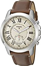 Fossil Men's Grant Stainless Steel and Leather Hybrid Smartwatch with Activity..