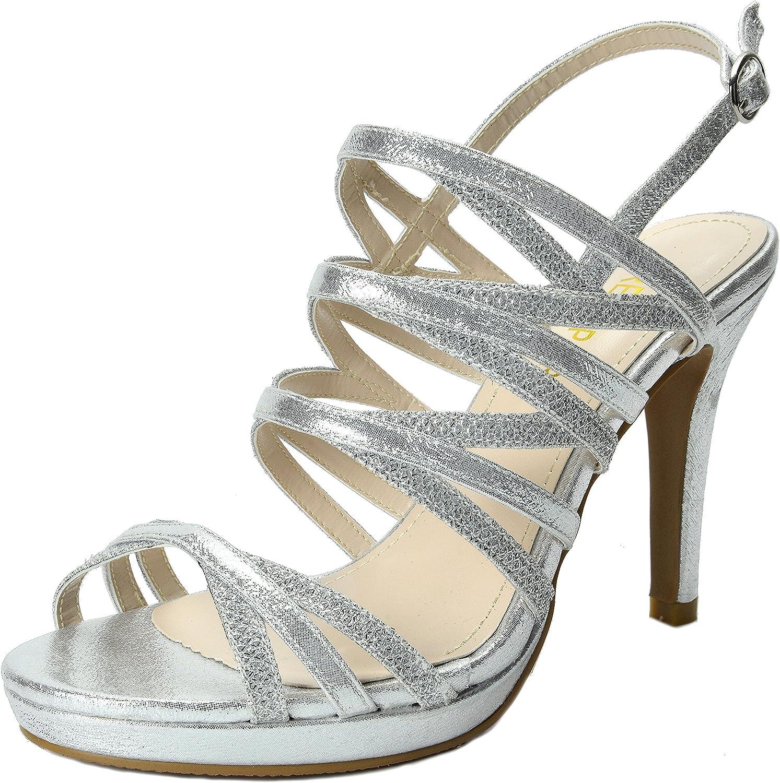 DREAM PAIRS Sophia Women's Sparkling Evening High Heels Open Toe Cross Strap Wedding Platform Casual Pumps Sandals